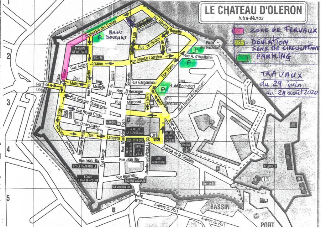 PLAN DE CIRCULATION TRAVAUX CENTRE-BOURG DU CHATEAU D'OLERON DU 29 JUIN AU 28 AOÛT 2020