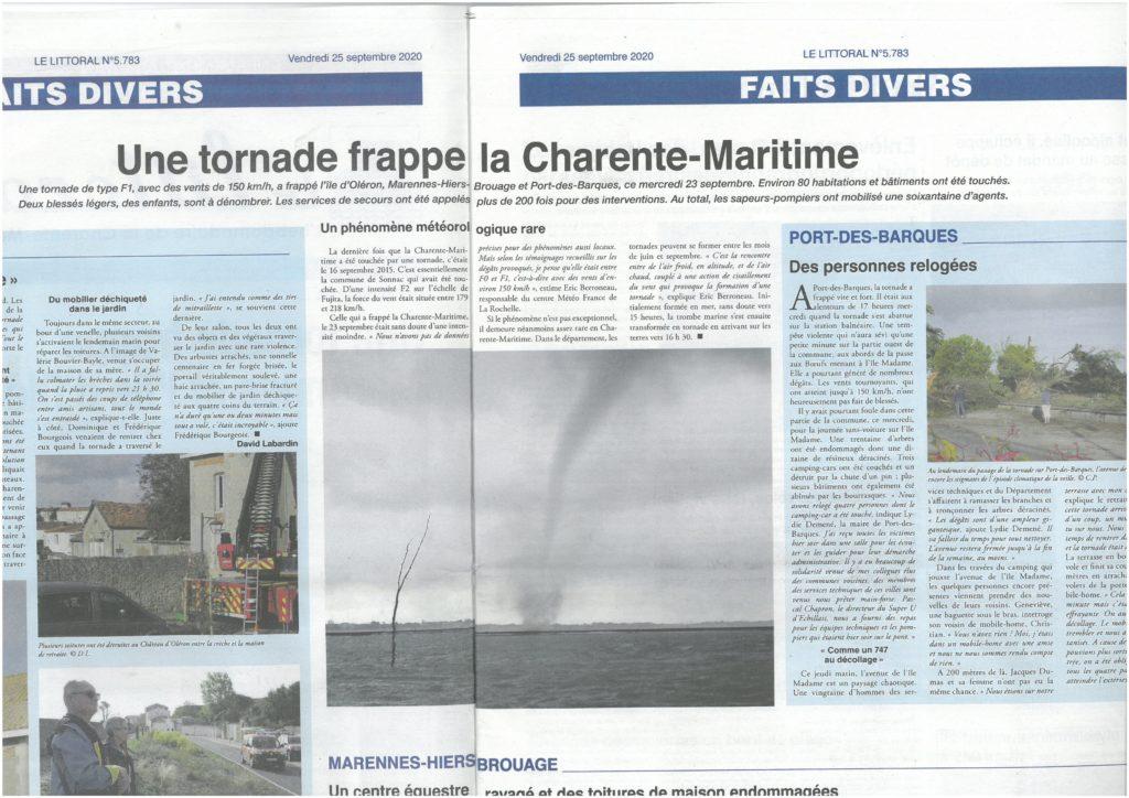 25092020_PARUTION DANS LE JOURNAL LE LITTORAL